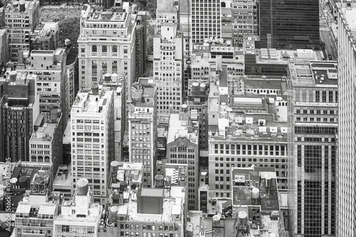 Black and white aerial picture of the Manhattan, New York City, USA.