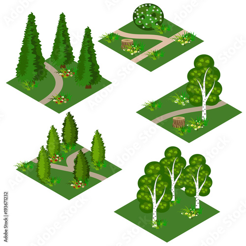 Deurstickers Wit Landscape isometric tile set. Cartoon or game asset