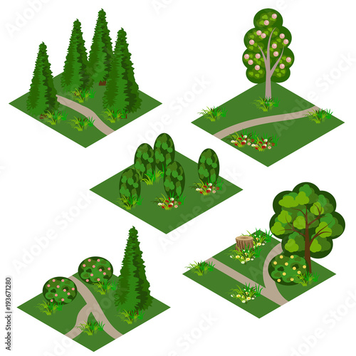 Aluminium Wit Landscape isometric tile set. Cartoon or game asset