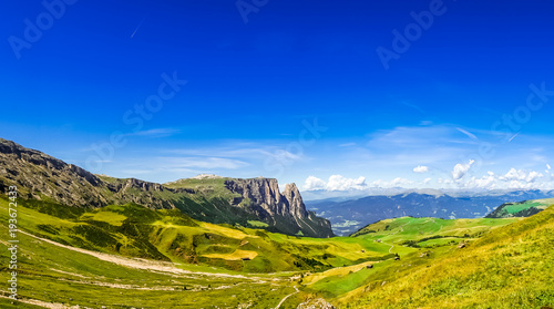 Fotobehang Donkerblauw View on Schlern mountain and Seiser mountain pasture in South Tyrol