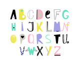 English alphabet with multi-colored letters