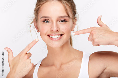 Beautiful girl with healthy white smile
