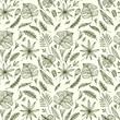 Seamless pattern from Hand draw structure of tropic leaves black on white in line art for design flyer banner or for decoration package of  tea or cosmetic or  perfume or for design of botanical theme - 193676630