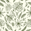 Seamless pattern from Hand draw structure of tropic leaves black on white in line art for design flyer banner or for decoration package of  tea or cosmetic or  perfume or for design of botanical theme - 193676652