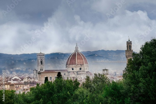 Aluminium Florence rainy day in Florence, the sky with dark clouds over the dome of the Cathedral of Santa Maria del Fiore and the bell tower of Giotto