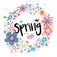 Floral spring wreath.