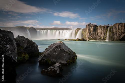 Aluminium Zwart Godafoss waterfall in Iceland, Europe.