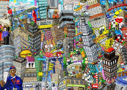 Graffiti, miasto, ilustracja dużego kolażu, z domami, samochodami i ludźmi