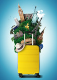 Yellow travel bag with world landmark, holiday and tourism - 193691060
