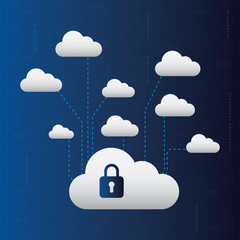 Abstract cloud network connection. Cyber technology concept. Cloud networking background.