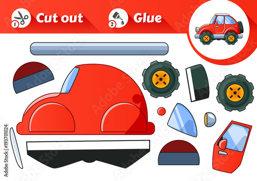 Plexiglas Auto Cut & Glue - an educational game for kids. Vintage Red Car