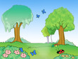 Cartoon wood and cute insects illustration for kids