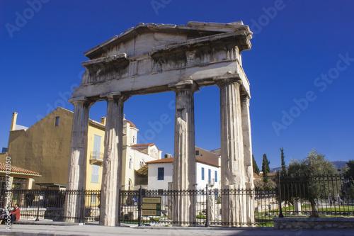Foto op Aluminium Athene Doric portico by the Roman agora entrance, Athens