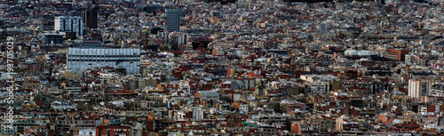 Fotobehang Barcelona panoramic aerial cityscape view of the barcelona cityscape showing densely crowded buildings towers and streets