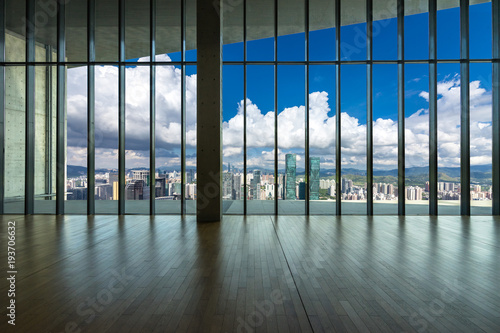empty window with panoramic cityscape - 193706632