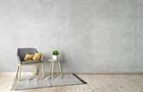 3d illustration of empty wall, grey interior mockup - 193708206