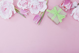 Pink Gift Background with Spring Flowers