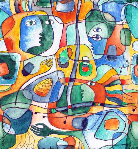 cubistic-bezszwowy-wzor-z-liniami-i-twarzami-malujacymi-w-akwareli