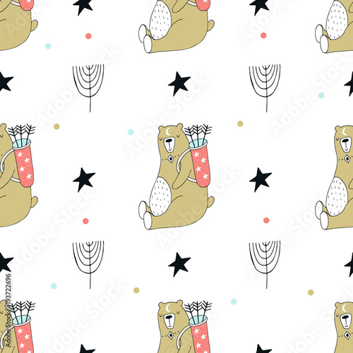 Cute hand drawn seamless pattern with animal character in scandinavian style. - 193722696