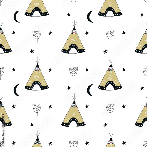 Cute hand drawn seamless pattern with wigwam in scandinavian style. - 193722698