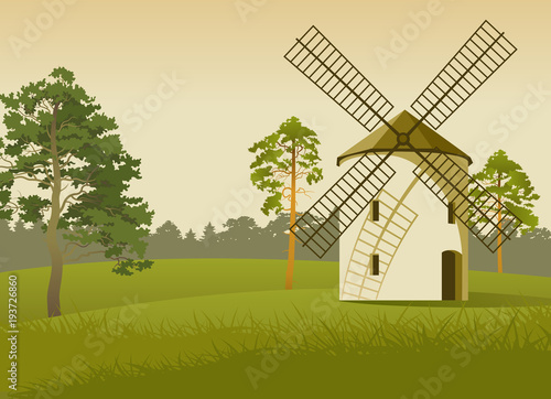 Aluminium Beige Vector landscape with a mill