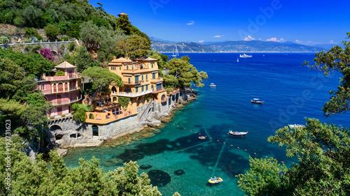 Aluminium Donkerblauw view of Portofino, Italy