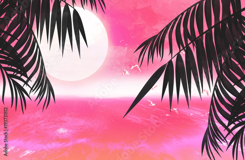 Aluminium Candy roze Background palms, sunset, sea, tropical leaves