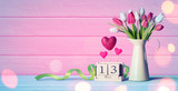 Mothers Day Greeting Card - Tulips And Calendar On Wooden Table - 193737647