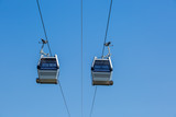 Booths cable car on a background of blue sky - 193741647