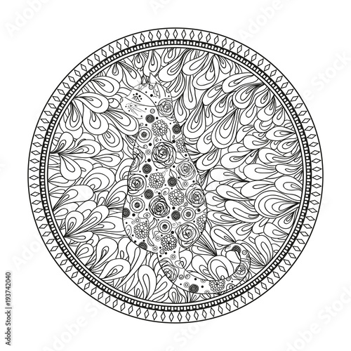 Hand drawn circle zendala with cat. Wallpaper Zentangle. Black and white illustration. Design