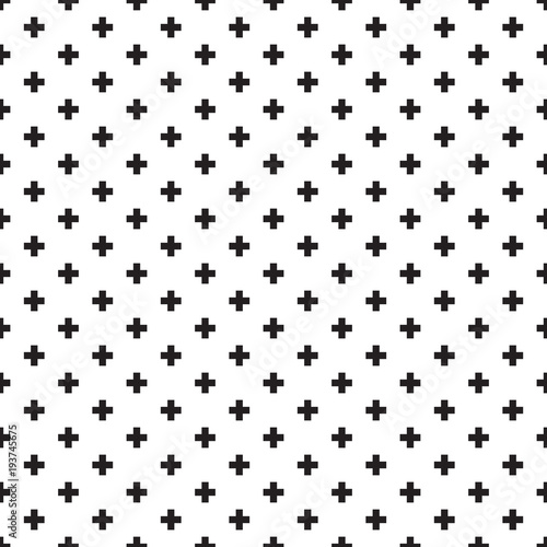 Seamless black and white Swiss Cross Shweizerkreuz pattern - 193745675