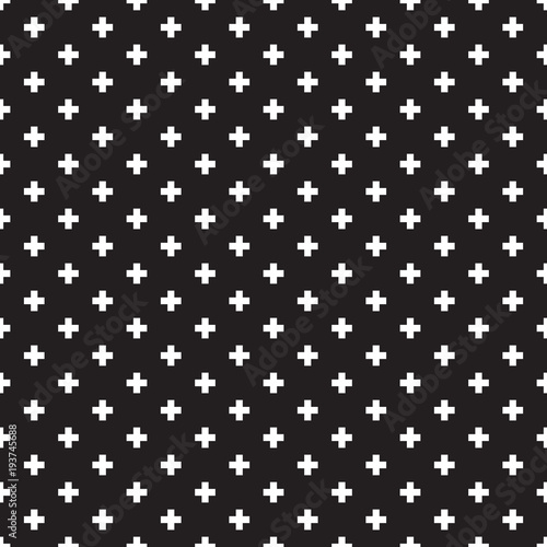 Seamless black and white Swiss Cross Shweizerkreuz pattern - 193745688