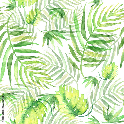 Seamless watercolor background from green tropical leaves, palm leaf, fern, floral pattern. Bright Rapport for Paper, Textile, Wallpaper, design. Tropical leaves watercolor. © helgafo