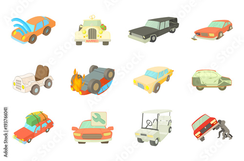 Plexiglas Auto Car icon set, cartoon style