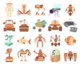 Robots Icon Set Cartoon Style Wall Sticker