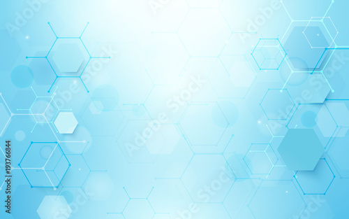 Abstract blue hexagons shape and lines with science concept background