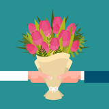 Man And Girl Hands Holding Bouquet Of Tulips Happy International Women Day Concept Flat Vector Illustration