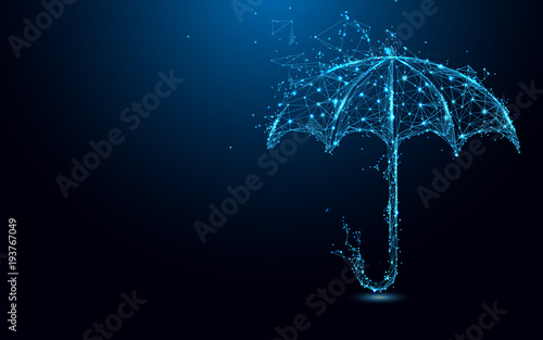 Abstract umbrella form lines and triangles, point connecting network on blue background. Illustration vector