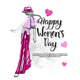 Happy Women Day Fashion Template Background Creative Hand Drawn Calligraphy Lettering Vector Illustration - 193768485