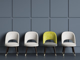 4 chairs on blue background copy space 3d rendering - 193769437