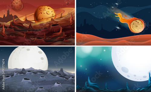 Deurstickers Kids Four scenes of space with moon