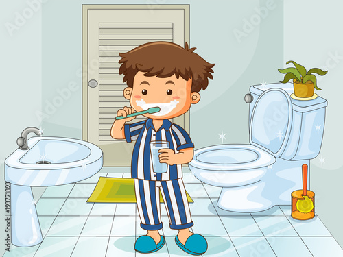 Deurstickers Kids Little boy brushing teeth in toilet