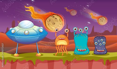 Aluminium Kids Three aliens and UFO on planet