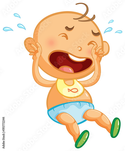 Tuinposter Kids Baby boy crying on white background
