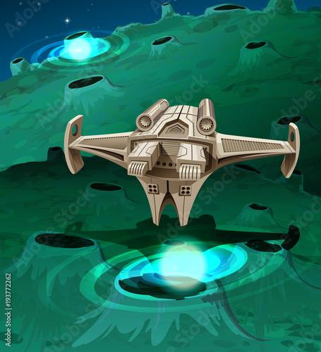 Foto op Canvas Kids Modern spaceship flying around the planet