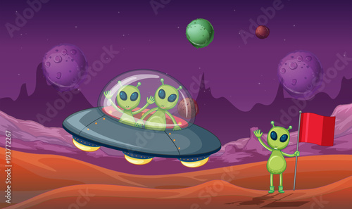 Tuinposter Kids Three aliens discovered new planet