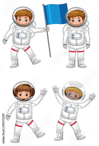 Aluminium Kids Four astronauts with blue flag