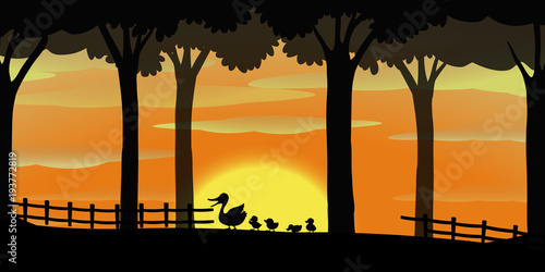 Tuinposter Kids Silhouette background with ducks on the farm