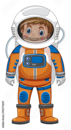 Foto op Canvas Kids Happy boy in astronaut costume