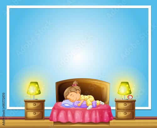 Aluminium Kids Border template with girl sleeping on bed